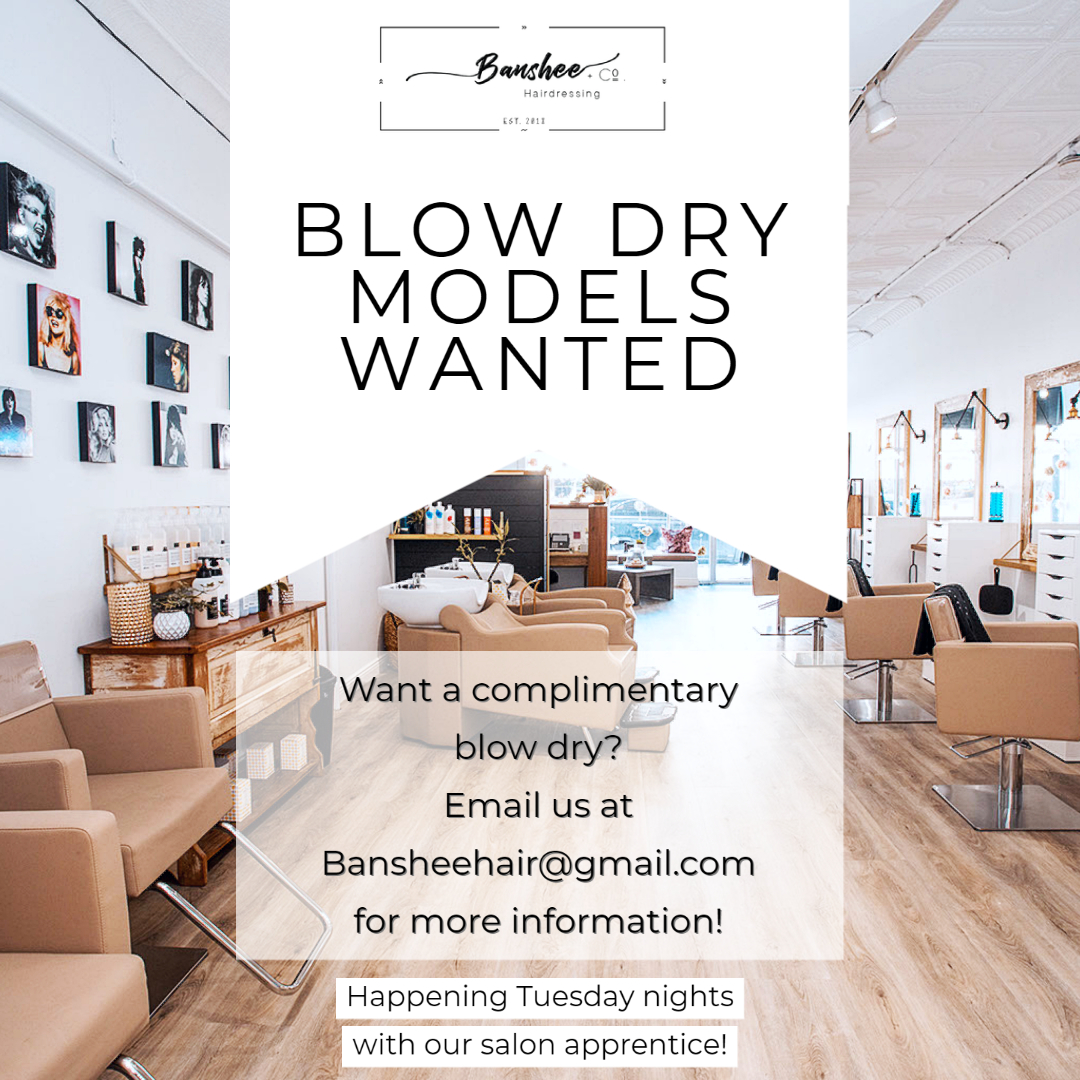 Blow Dry Models Wanted email: BansheeHair@gmail.com